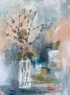 Quince in Peach by Melissa Payne Baker, Floral Abstract Canvas Painting