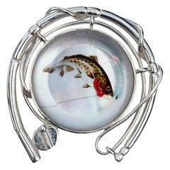Melissa Spencer Fly Fishing Lapel Pin Sterling Silver MOP Rock Quartz Crystal