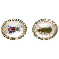 Melissa Spencer Gold Garnet Rock Quartz Beetle Portrait Cufflinks