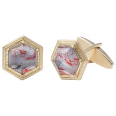 Melissa Spencer Gold Portrait Cufflinks Rock Crystal Quartz Mother of Pearl