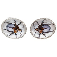 Melissa Spencer Portrait Beetles in Rock Quartz Crystal and Mother of Pearl