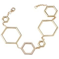 Melissa Spencer Yellow Gold and Diamond Honeycomb Hexagon Bracelet