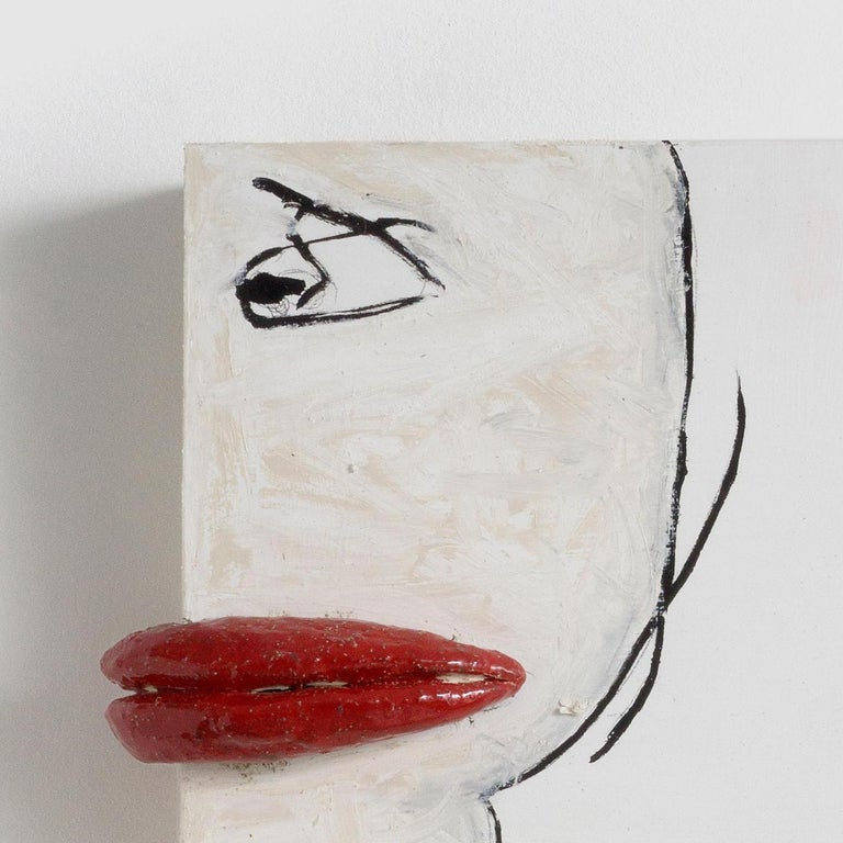 Melissa Stern, Loose Lips, Wood, clay, oil stick, 2018 - Feminist Sculpture by Melissa Stern