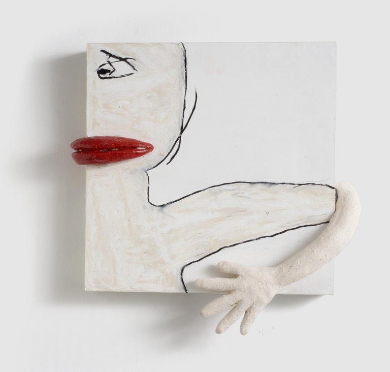 Melissa Stern, Loose Lips, Wood, clay, oil stick, 2018 - Sculpture by Melissa Stern