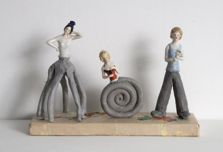 Melissa Stern, Three Gals, Wood, clay, objects, paint, paper, 2018 - Sculpture by Melissa Stern