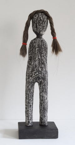 Melissa Stern, Wig Shop (Braid), clay, oil stick, ink, hair, 2018