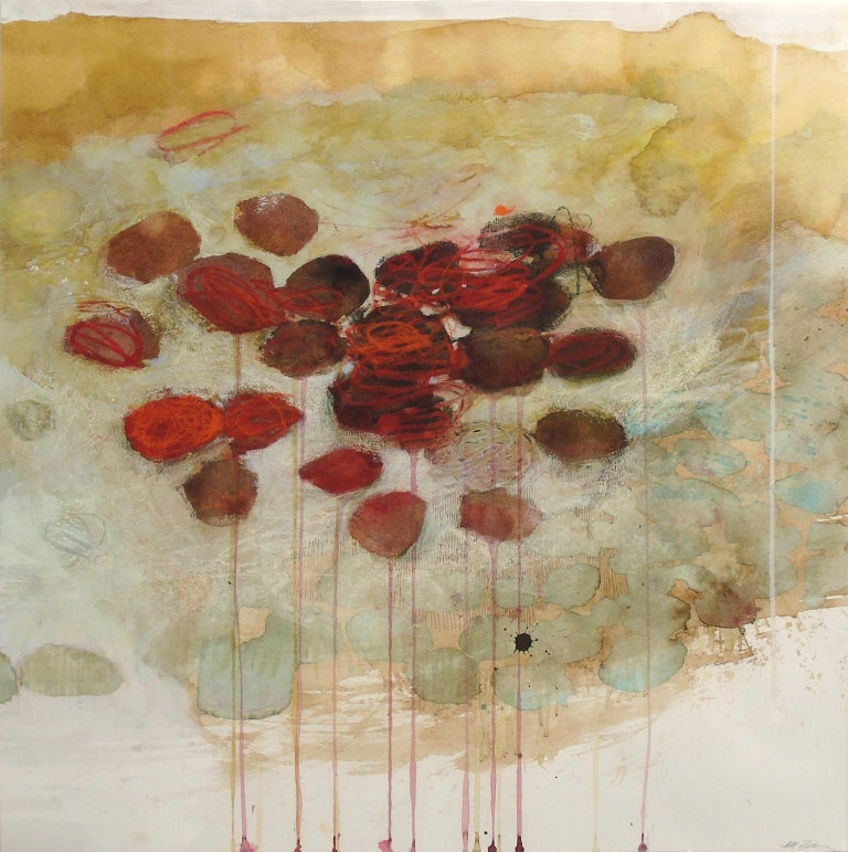 """Bonded by Florid Suspense"", by Melissa Zarem, is an abstract work on paper in a gray wood frame. Red and brown ovals softly drip against a background of aqua and tan washes. Zarem used ink, watercolor, gouache and crayon to create this unique work"