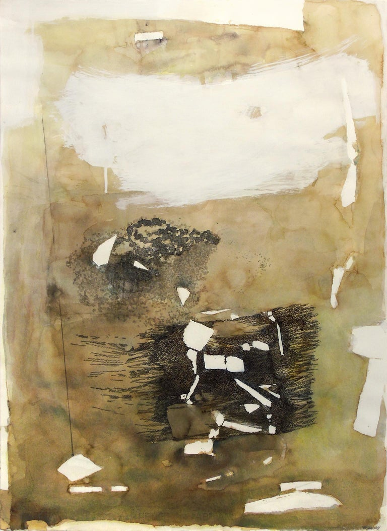 """Bone Cleaners"", by Melissa Zarem, is an abstract work on paper in a gray wood frame. Zarem used coffee to create the warm brown washes. Closer inspection of ""Bone Cleaners"" reveals Intricate patterned marks. This piece measures 30"" high by 22"""