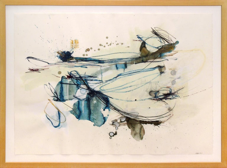 """""""Low Growing Fruit"""", a one of a kind abstract work on paper by Melissa Zarem, combines a variety of marks, washes and drips. It is dominated by teal, black and white space. As is characteristic in Zarem's work, several drawing and painting"""