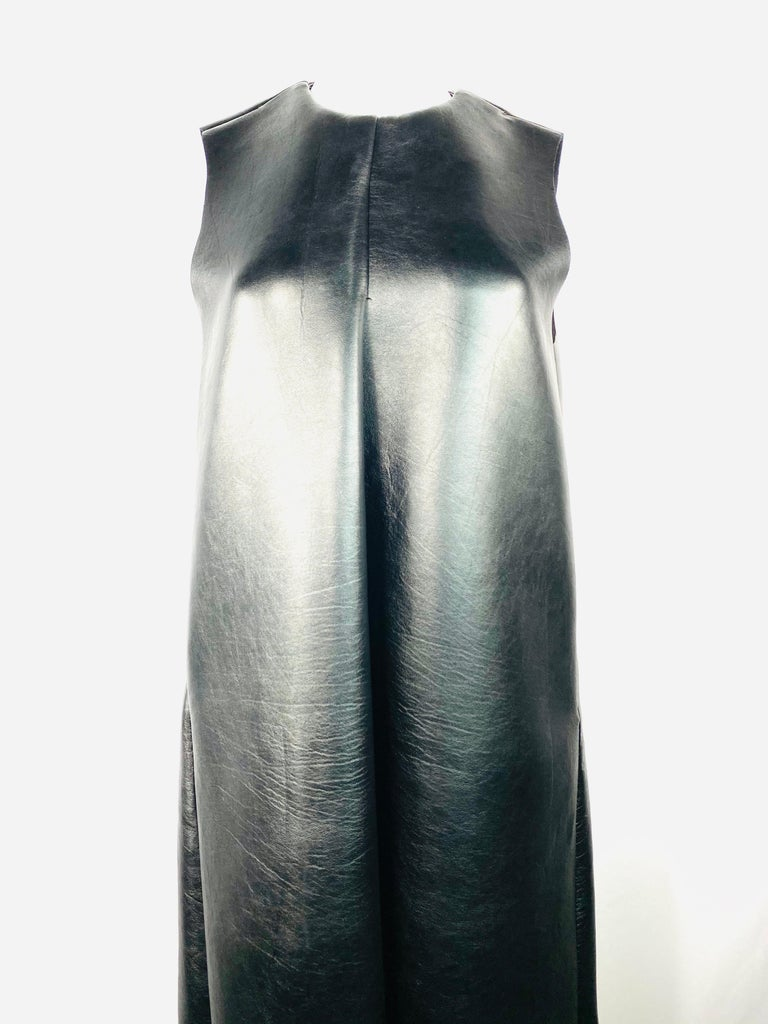 Melitta Baumeister Black Faux Leather Sleeveless Maxi Dress In Excellent Condition For Sale In Beverly Hills, CA