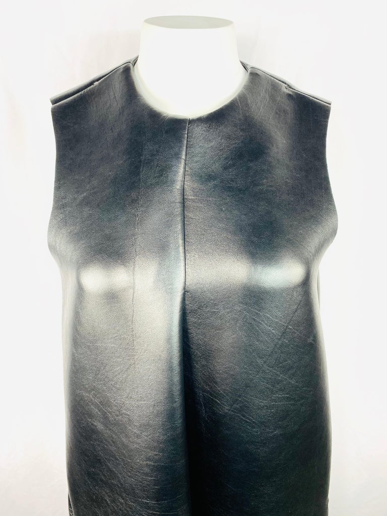 Melitta Baumeister Black Faux Leather Sleeveless Maxi Dress For Sale 5