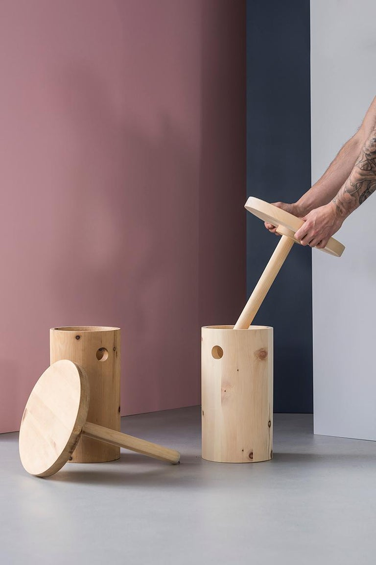 Red dot design award winner Melk-i, is a modern interpretation an ancient object – the Alpine milking stool.  The ergonomic stool is crafted using Swiss pine, a wood typical of the Alpine region where the milking stool originates. The resins and