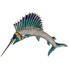 Melkon Design 18 Karat Yellow Gold, Silver and Diamond Sailfish Brooch Pin