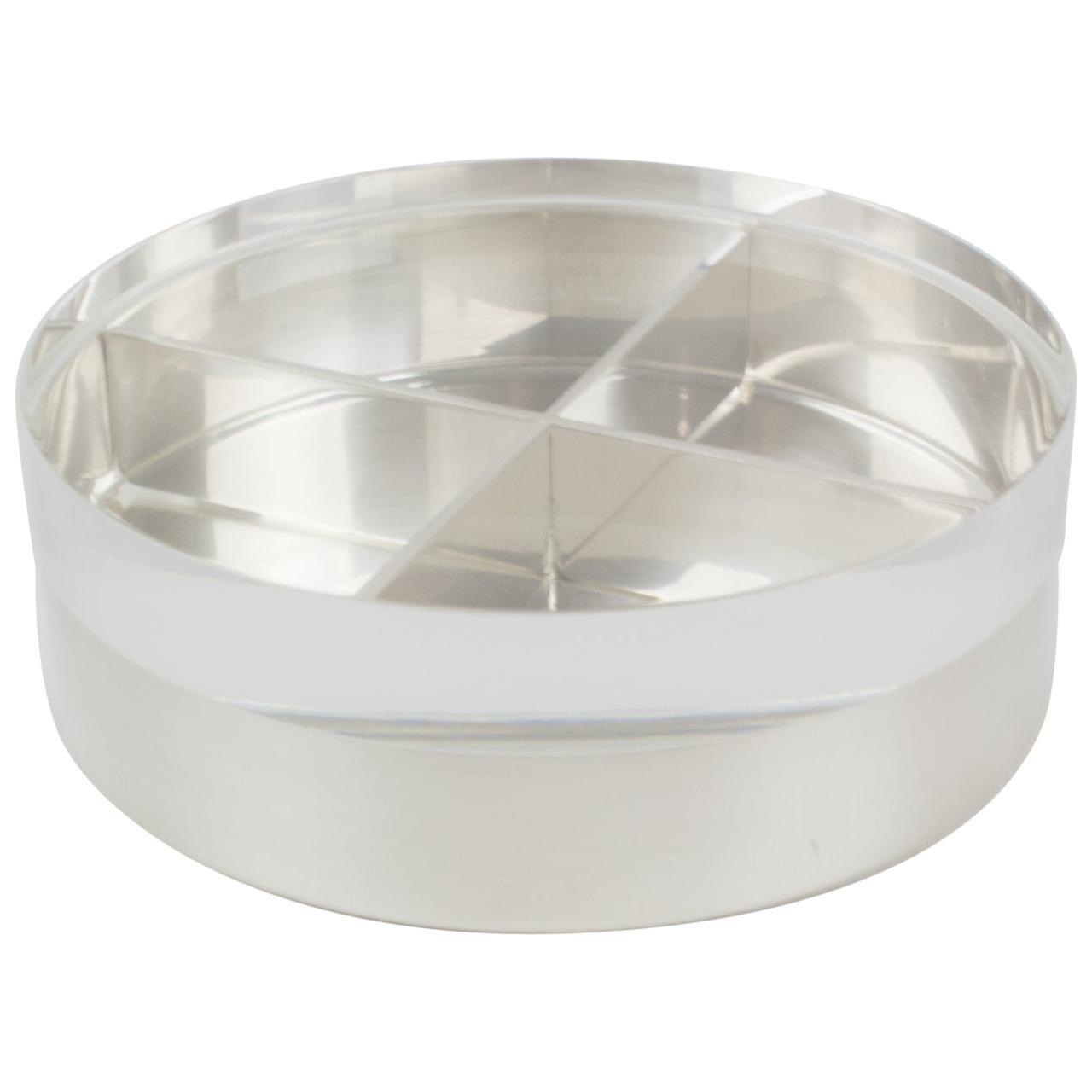 Mellerio 1970s Silver Plate Lucite Round Box