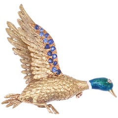 Mellerio Diamond Sapphire Enamel Gold Duck Brooch