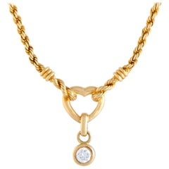 Mellerio Diamond Solitaire Yellow Gold Heart Pendant Necklace