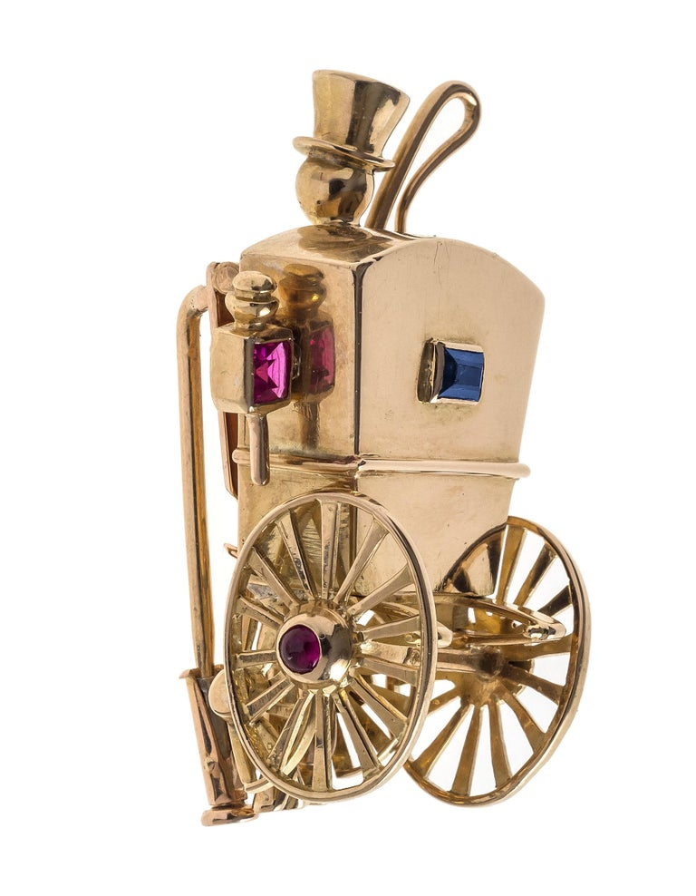 Retro  18 Karat Gold Mellerio Dits Meller 1940's  Wedding Carriage Ruby Sapphire Clip  For Sale