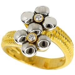 Mellerio Dits Meller Diamond 0.07 Carat 18 Karat Gold Flower Ring