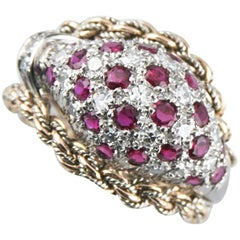 Mellerio Dits Meller Diamond Ruby 18 Karat White and Yellow Gold Bespoke Ring