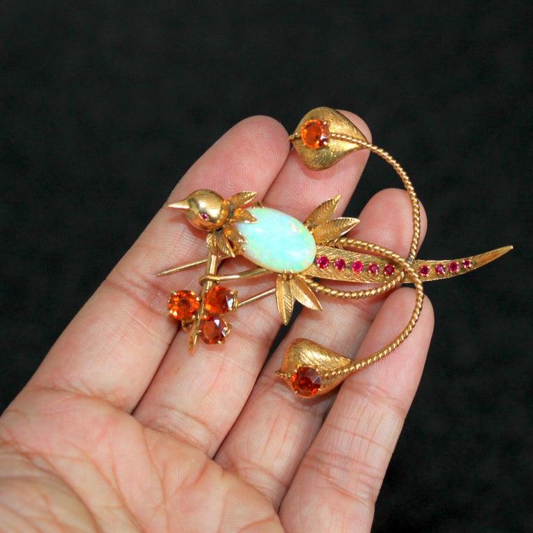 Women's or Men's Mellerio dits Meller Hummingbird Brooch, circa 1960s For Sale