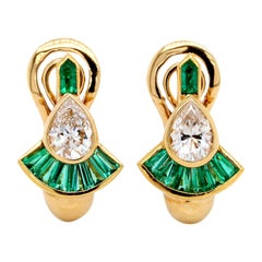 Mellerio Dits Mellor 18 Karat Yellow Gold Diamond and Emerald Earrings, France