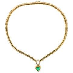 Mellerio Emerald Diamond Gold Pendant Necklace