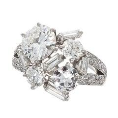 Mellerio French GIA 1.88 Carat Old European Cut Diamond Platinum Cocktail Ring
