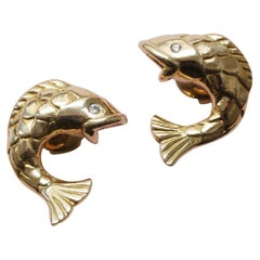 Mellerio Gold and Diamond Fish Earrings
