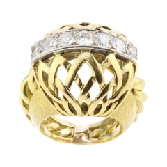 Mellerio Mits Melleri 18kt Yellow Gold Vintage Ring with Diamonds