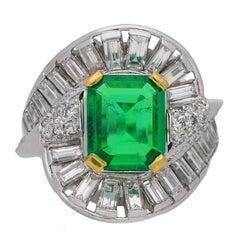 Mellerio Natural Unenhanced Muzo Emerald Diamond Ring, circa 1960