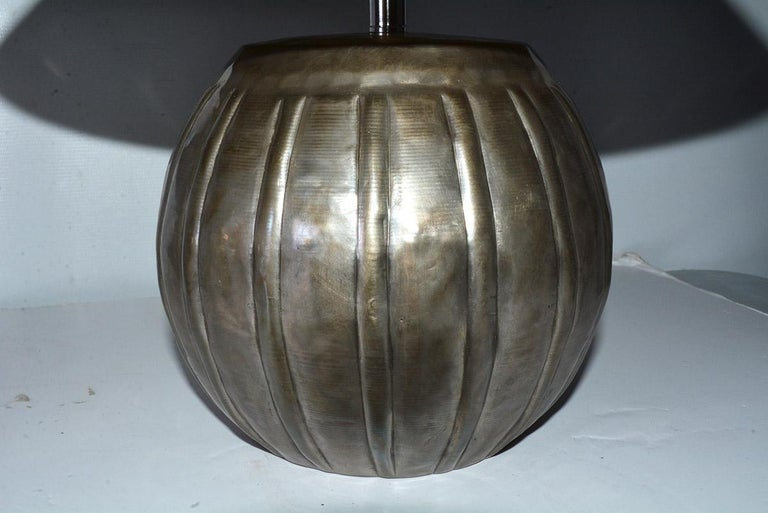 Anglo-Indian Mellon Shape Silver Toned Metal Lamps For Sale