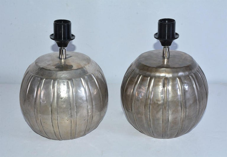 Indian Mellon Shape Silver Toned Metal Lamps For Sale
