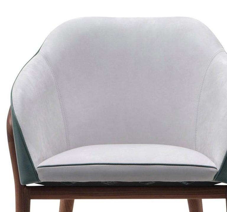 Italian Melodie Mint Leather Chair by Ulivi Salotti For Sale