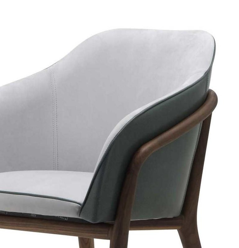 Melodie Mint Leather Chair by Ulivi Salotti In New Condition For Sale In Milan, IT