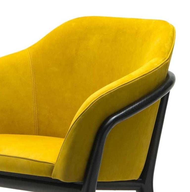 Italian Melodie Mustard Leather Chair by Ulivi Salotti For Sale