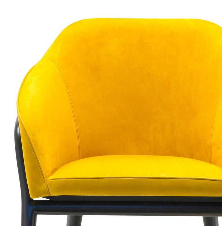 Melodie Mustard Leather Chair by Ulivi Salotti In New Condition For Sale In Milan, IT