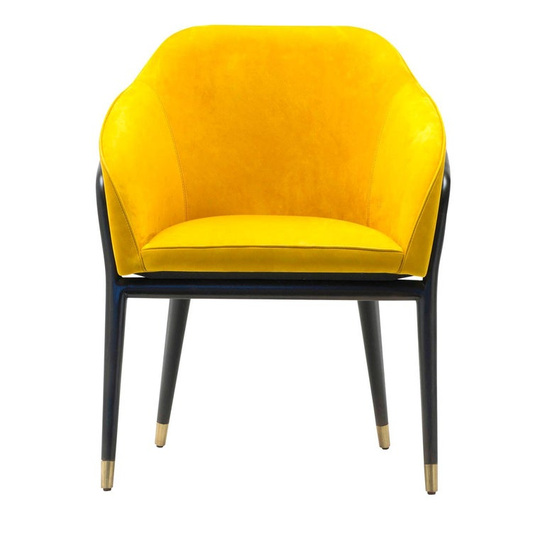 Melodie Mustard Leather Chair by Ulivi Salotti For Sale