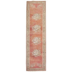 Melon Red Floral Turkish Ghiordes Runner