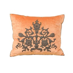 Melon Velvet Pillow with Tarnished Silver Metallic Scrollwork Applied Embroidery