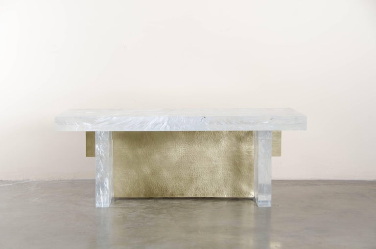 Melrose Bench Crystal Hand Carved Brass Hand Repoussé Limited Edition In Stock  Repoussé is the traditional art of hand-hammering decorative relief onto sheet metal. The technique originated around 800 BC between Asia and Europe and in Chinese