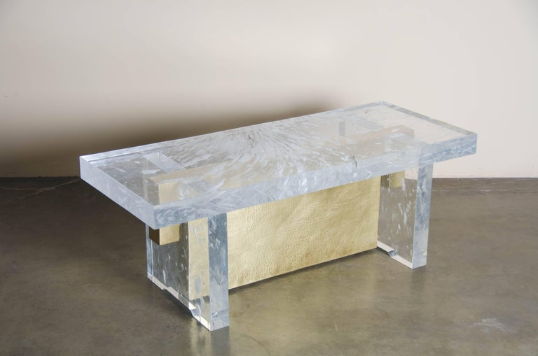 Melrose Bench, Crystal and Brass by Robert Kuo, Limited Edition, in Stock In New Condition For Sale In West Hollywood, CA