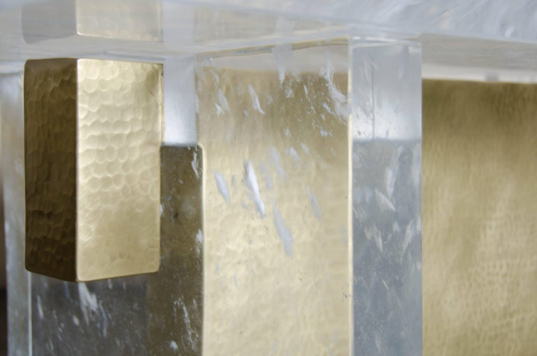 Contemporary Melrose Bench, Crystal and Brass by Robert Kuo, Limited Edition, in Stock For Sale