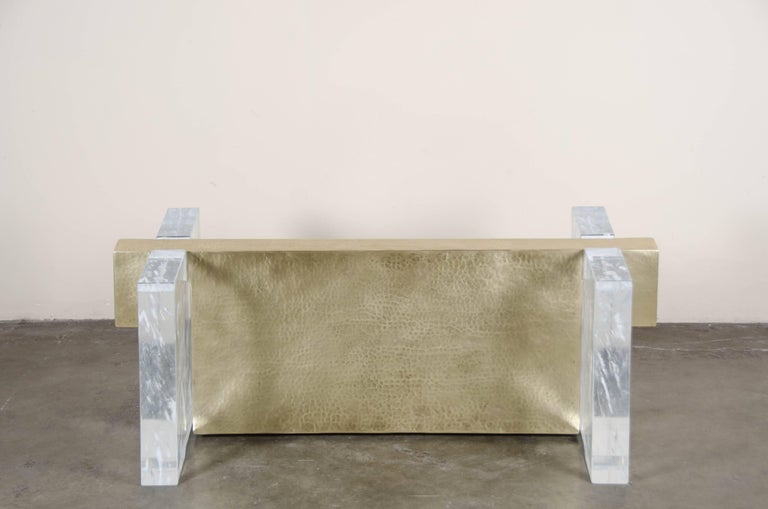 Melrose Bench, Crystal and Brass by Robert Kuo, Limited Edition, in Stock For Sale 1