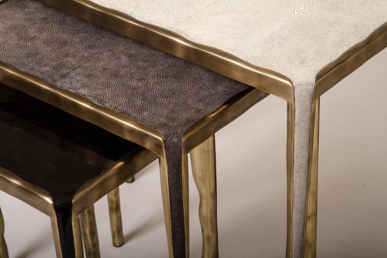 Art Deco Melting Nesting Side Table Set of 3 in Shagreen, Shell and Brass by R&Y Augousti For Sale