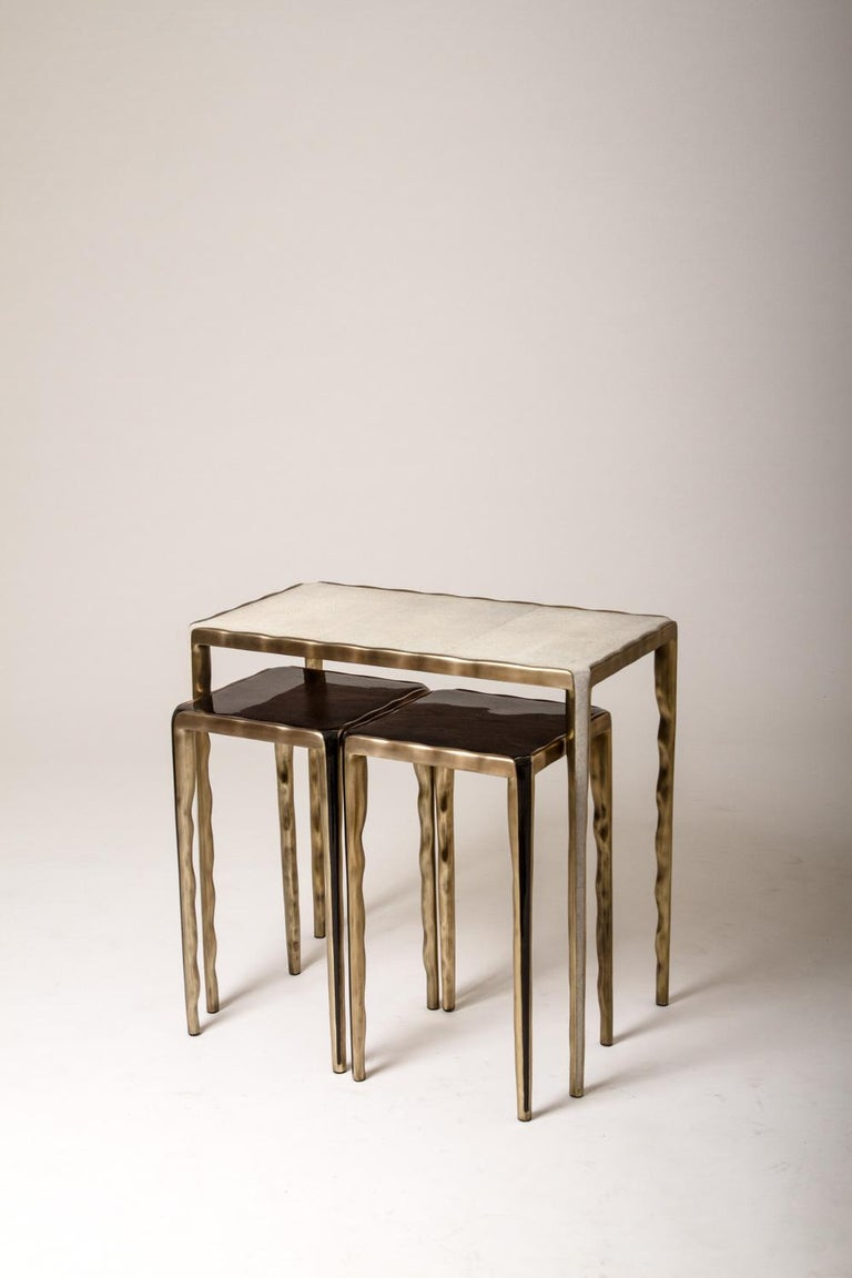 Art Deco Melting Nesting Coffee Tables in Shagreen, Shell and Brass by R & Y Augousti For Sale