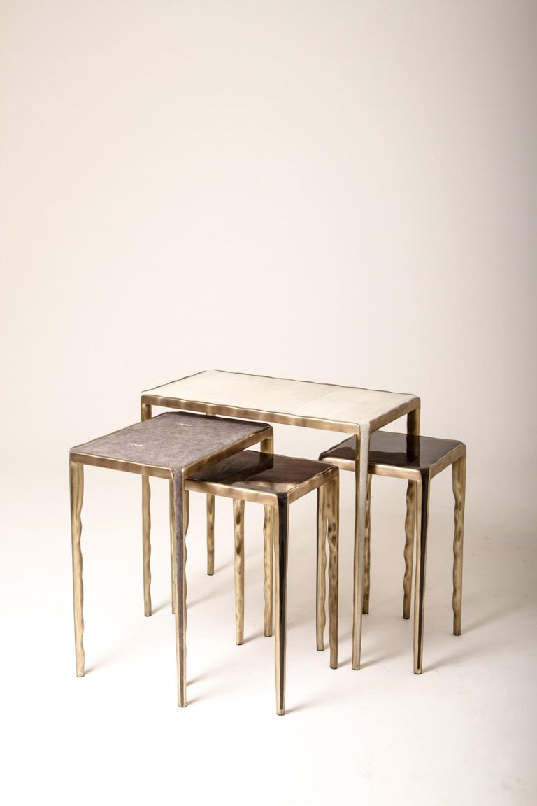 French Melting Nesting Coffee Tables in Shagreen, Shell and Brass by R & Y Augousti For Sale