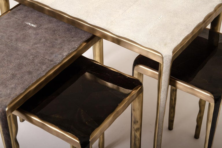 Hand-Crafted Melting Nesting Coffee Tables in Shagreen, Shell and Brass by R & Y Augousti For Sale