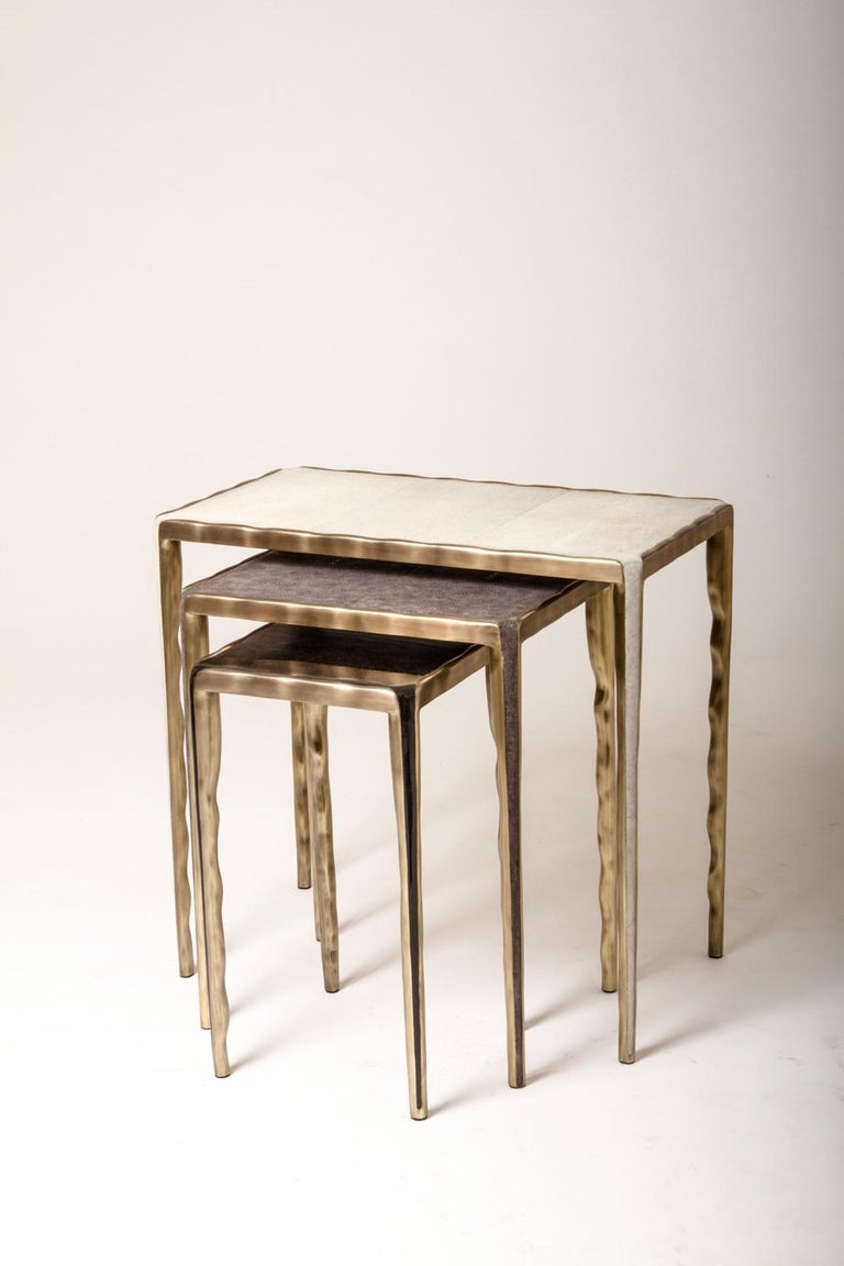 Melting Nesting Table L in Mother of Pearl & Bronze-Patina Brass by R&Y Augousti For Sale 1