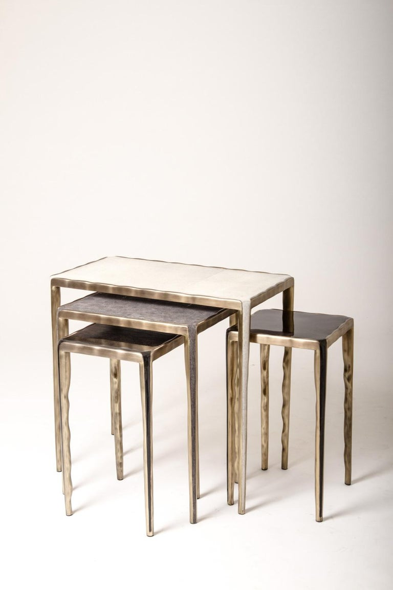 Melting Nesting Table M in Mother of Pearl & Bronze-Patina Brass by R&Y Augousti For Sale 1