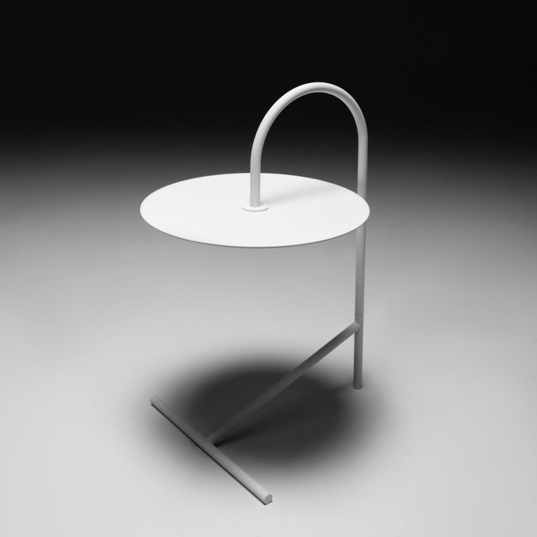 Ukrainian MELT, minimalistic white steel side coffee TABLE by oitoproducts For Sale